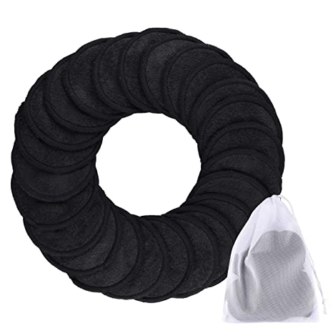 Siquk 24 Pieces Makeup Remover Pads Reusable Black Face Cleansing Pads 2 Layers Washable Organic Bamboo Cotton Round Cleansing Cloths With Laundry Bag For Eye Makeup Remove Face Wipe by Siquk