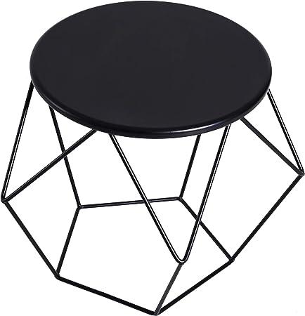 Homcom Table Basse Ronde Design Industriel Neo Retro Dim 54l X 54l X 44h Cm Plateau O 40 Cm Acier Noir