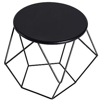 meilleure sélection 5ba52 55428 Homcom Table Basse Ronde Design Industriel néo-rétro dim. 54L x 54l x 44H  cm Plateau Ø 40 cm Acier Noir