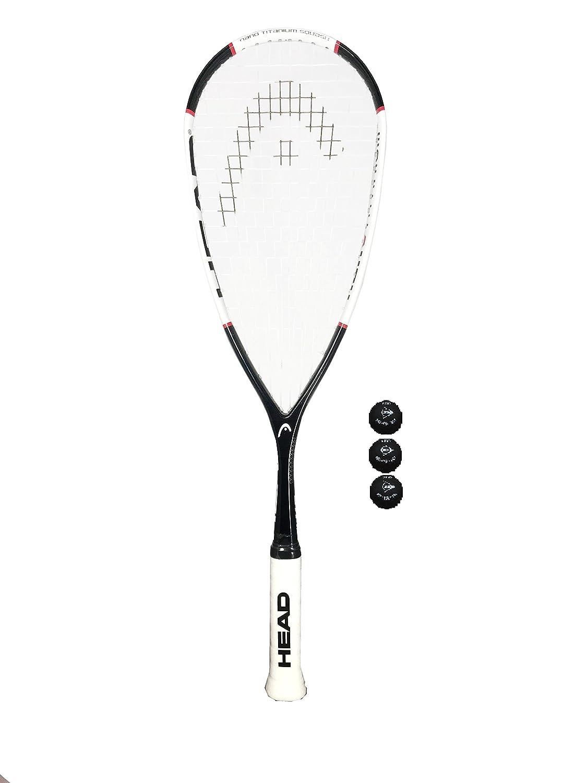 Head Nano Ti 115 Raqueta de squash + 3 pelotas de squash M D Trading