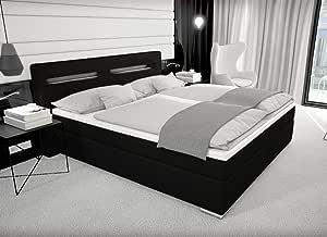Cama de diseño Boxspring París con cama + iluminación LED ...