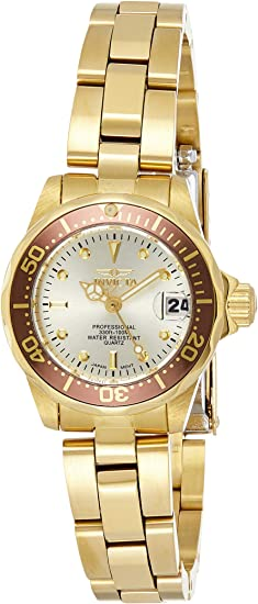 Invicta Women's Pro Diver 23.5mm Gold Tone Stainless Steel Quartz Watch, Gold (Model: 12527)