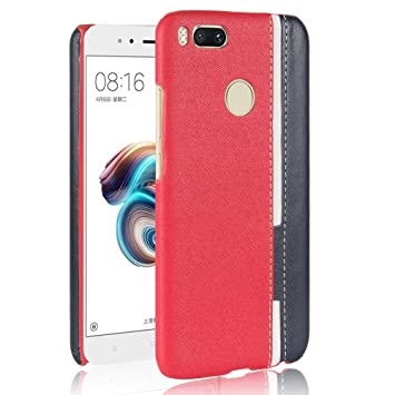 Phone Carcasa Funda Para el caso Xiaomi Mi 5X, colores mezclados Raya Patchwork cuero de la PU y estuche rígido de plástico para Xiaomi Mi 5X (Color : Red) : Amazon.es: Electrónica