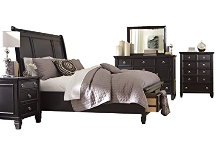 Ashley Greensburg 5PC Bedroom Set Cal King Sleigh Bed Dresser Mirror One  Nightstand Chest In Black
