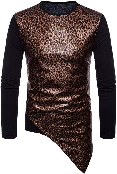 LuckyGirls Camisetas Estampado de Leopardo Patchwork Irregular ...