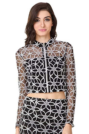bc3f4ff90864de TEXCO White Floral Embroidered Lace Mock Neck Women Crop Tops  Amazon.in   Clothing   Accessories