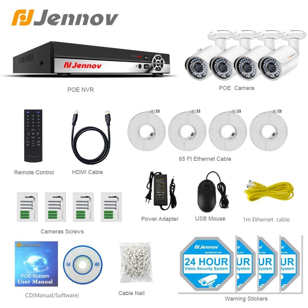 POE Security IP Camera,Jennov 1080P Bullet Surveillance Camera with 3.6mm Lens Night Vision Free Remote View App Motion Detection IP66 Weatherproof Outdoor /& Indoor