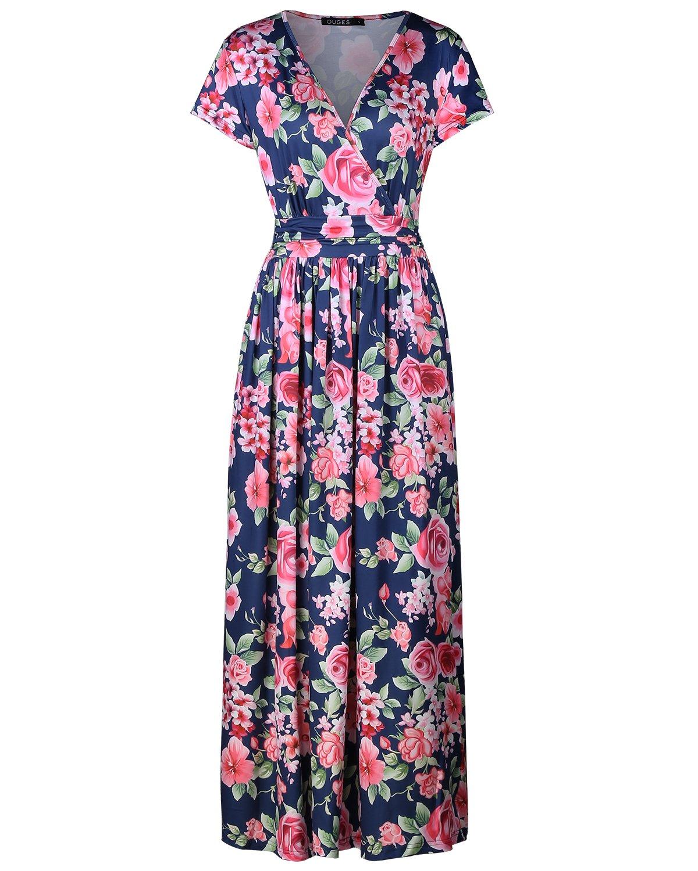 OUGES Women's V-Neck Pattern Pocket Maxi Long Dress(Floral-04,XL)