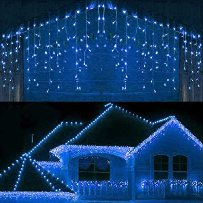 Joomer LED Icicle Lights, 300 LED 19.6Ft 8 Modes with 60 Drops Icicle Christmas Lights, Connectable Outdoor String Lights for Holiday, Christmas, Wedding Decorations (Blue) : Garden & Outdoor