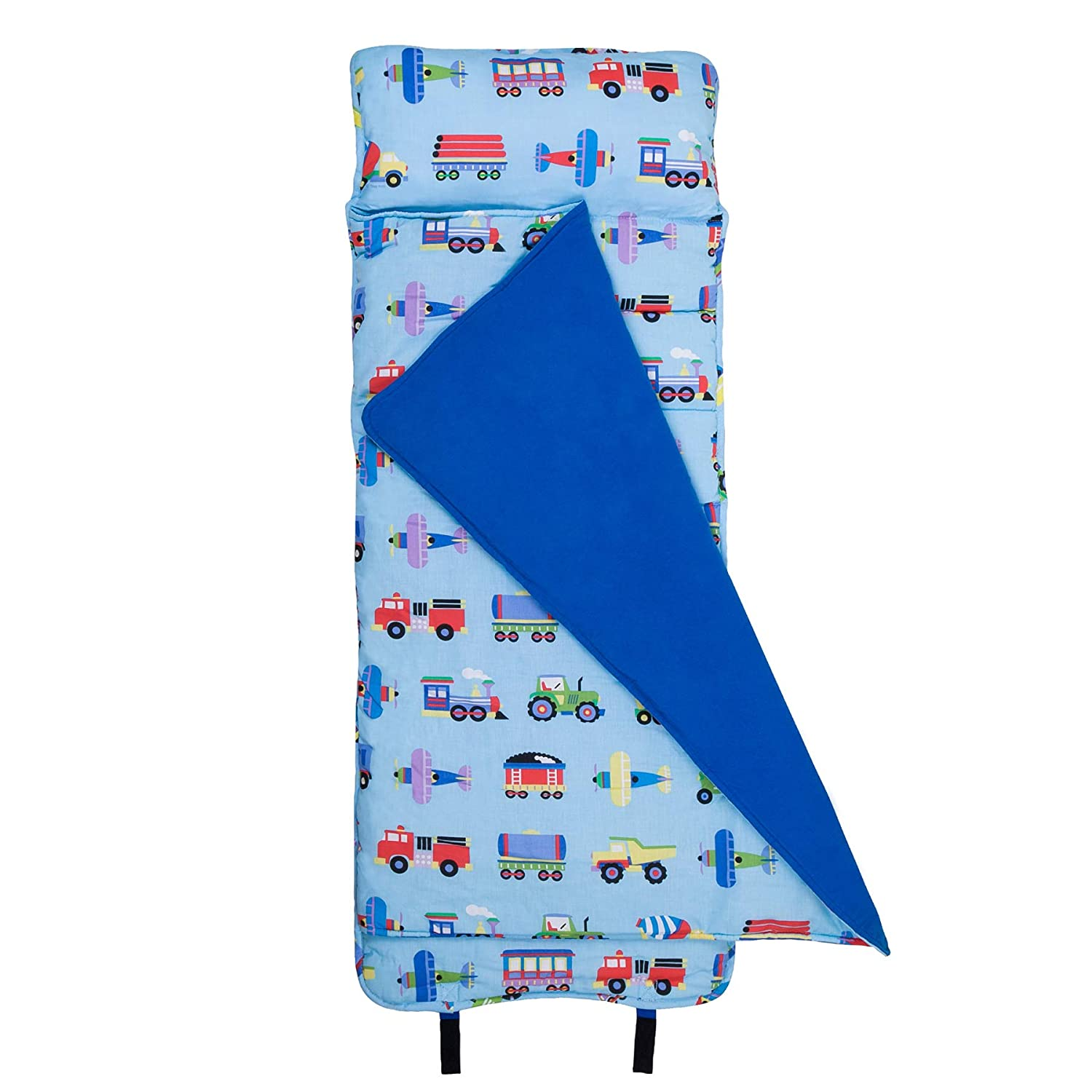 Wildkin Original Nap Mat, Features Built-In Blanket and Pillow, Perfect for Daycare and Preschool or Napping On-the-Go, Olive Kids Design – Trains, Planes, & Trucks