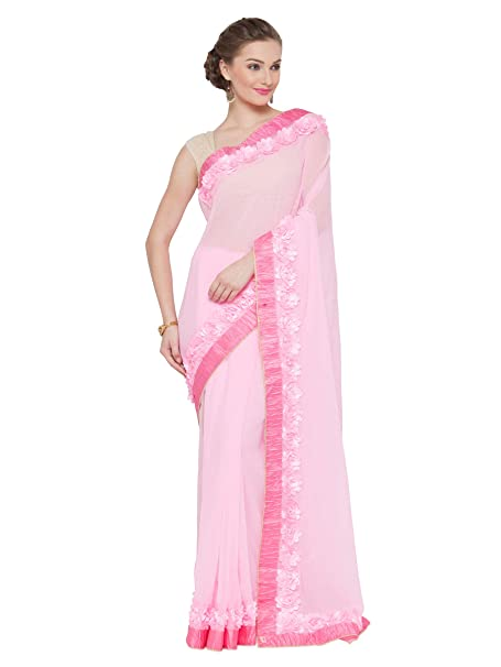 Craftsvilla Women S Georgette Ribbon Work Party Wear Pink Saree With