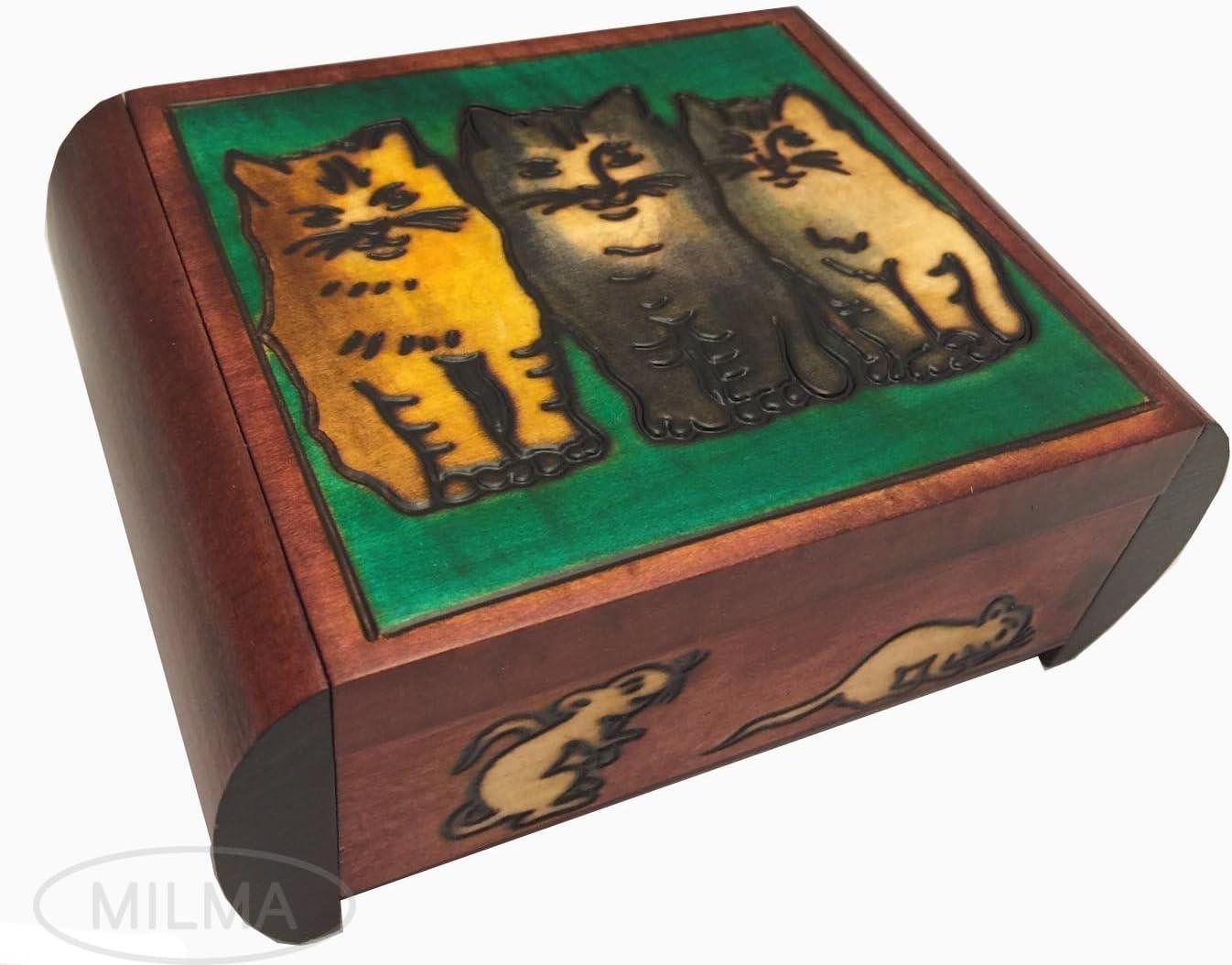 Modern Art Secret Jewelry Keepsake Polish Wood Box