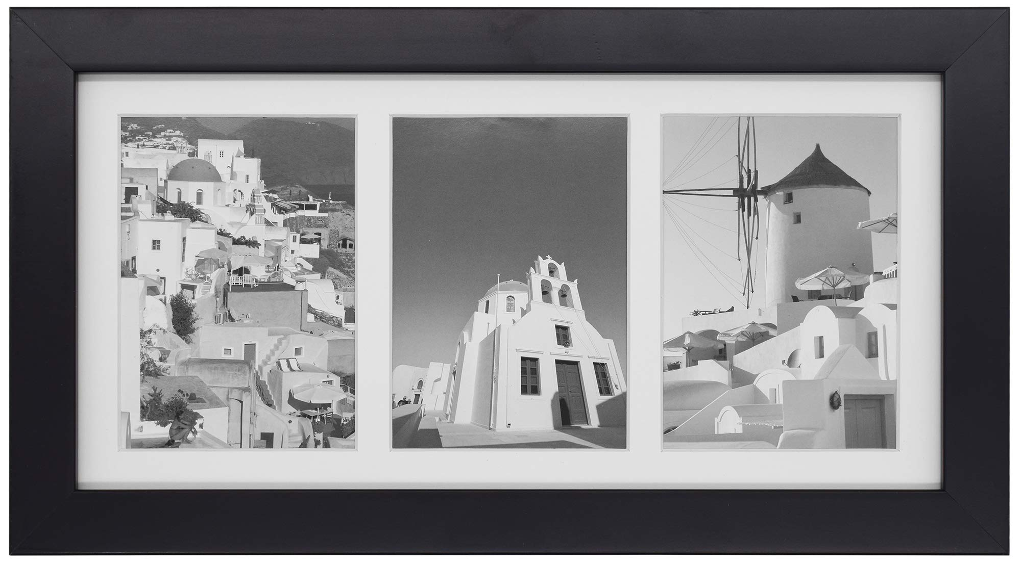 Golden State Art, 7x14 Black Photo Wood Collage Frame with Mat displays (3) 4''x6'' Pictures by Golden State Art