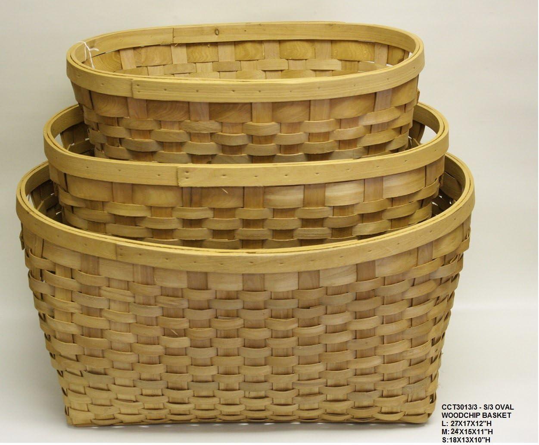 OVATIONS GIFTS Rectangular WOODCHIP Laundry/Bassinet Basket Set of 3 L:27X17X12, M24X15X11, S:18X13X10 H
