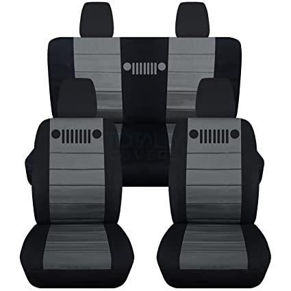 Jeep Wrangler Seat Covers >> 2011 2017 Jeep Wrangler Jk Seat Covers Black Charcoal Full Set Front Rear 23 Colors 2012 2013 2014 2015 2016 2 Door 4 Door Complete Back