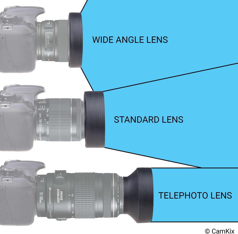 Paraluce di gomma pezzi 52/mm//3/sezioni Rubber Lens Hood Sun Shade 52/mm per obiettivi Zoom da 24/fino a 210/mm lunghezza focale