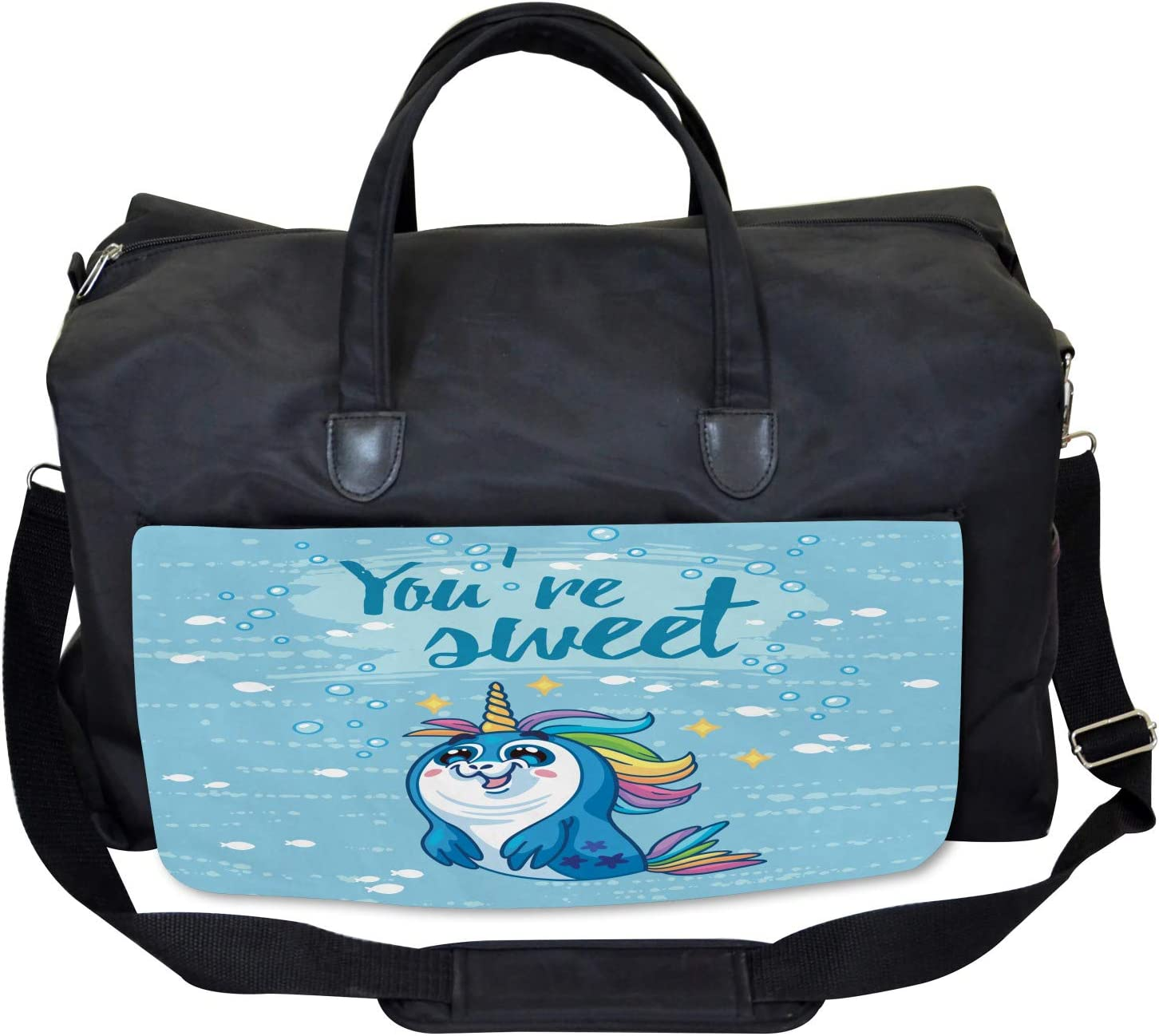 Large Weekender Carry-on Ambesonne Unicorn Gym Bag Penguin and Sea
