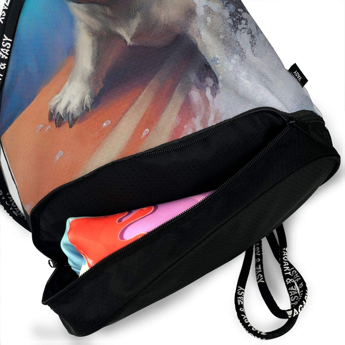 GymSack Drawstring Bag Sackpack Surfing Dog Sport Cinch Pack Simple Bundle Pocke Backpack For Men Women