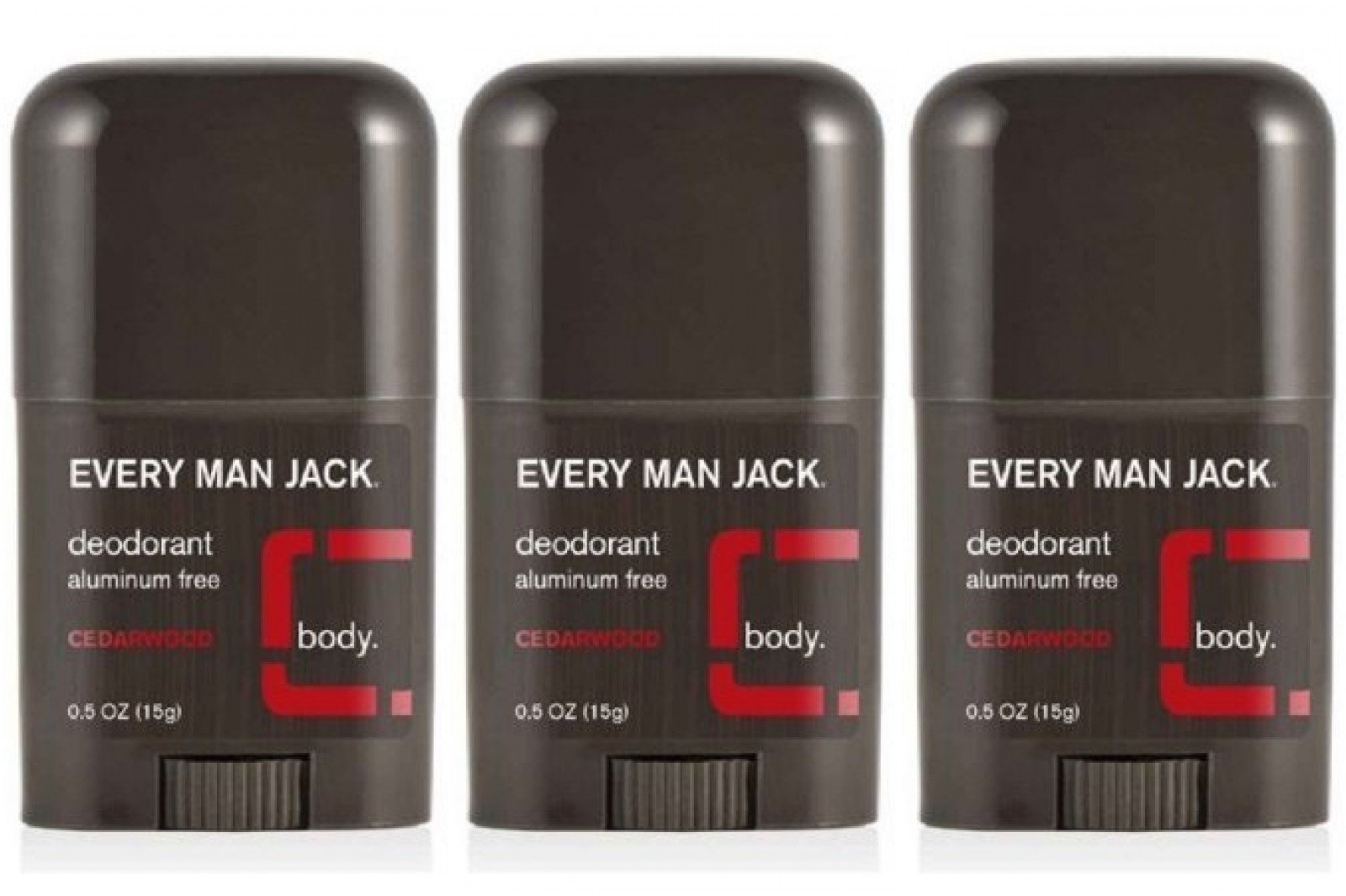 Every Man Jack Deodorant Cedarwood 0.5 Oz Travel Size ((Pack of 3))