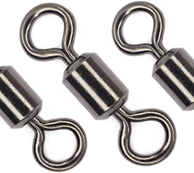 STAINLESS CRANE BARREL SWIVELS  DULL BLACK FINISH  SIZE 7     100 COUNT