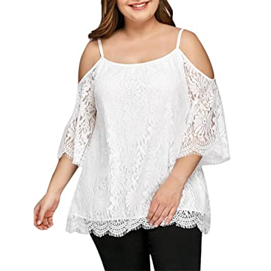 7a2f27c29acc2 Bellelove Femmes Hauts, Mesdames Manches Courtes Pull Dentelle O-Cou Cold  Shoulder Sweatshirt Pull