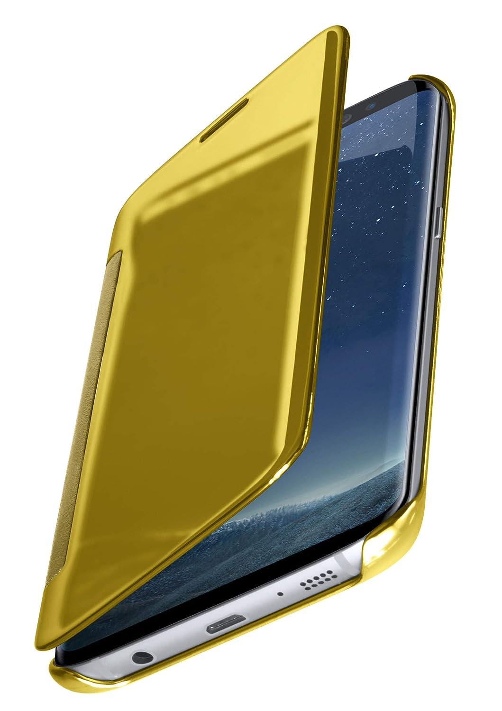 MoEx Samsung Galaxy S8 Plus | Premium Transparent Mirror Case 360° Full Protection Case Flip Cover - Gold