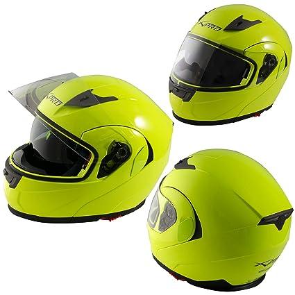 Motorbike Full Face Helmet Sport Scooter Sun Visor Touring Yellow Fluo