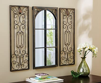 Amazon Com 3 Pc Scroll Metal Window Arch Mirror Scrollwork Frame