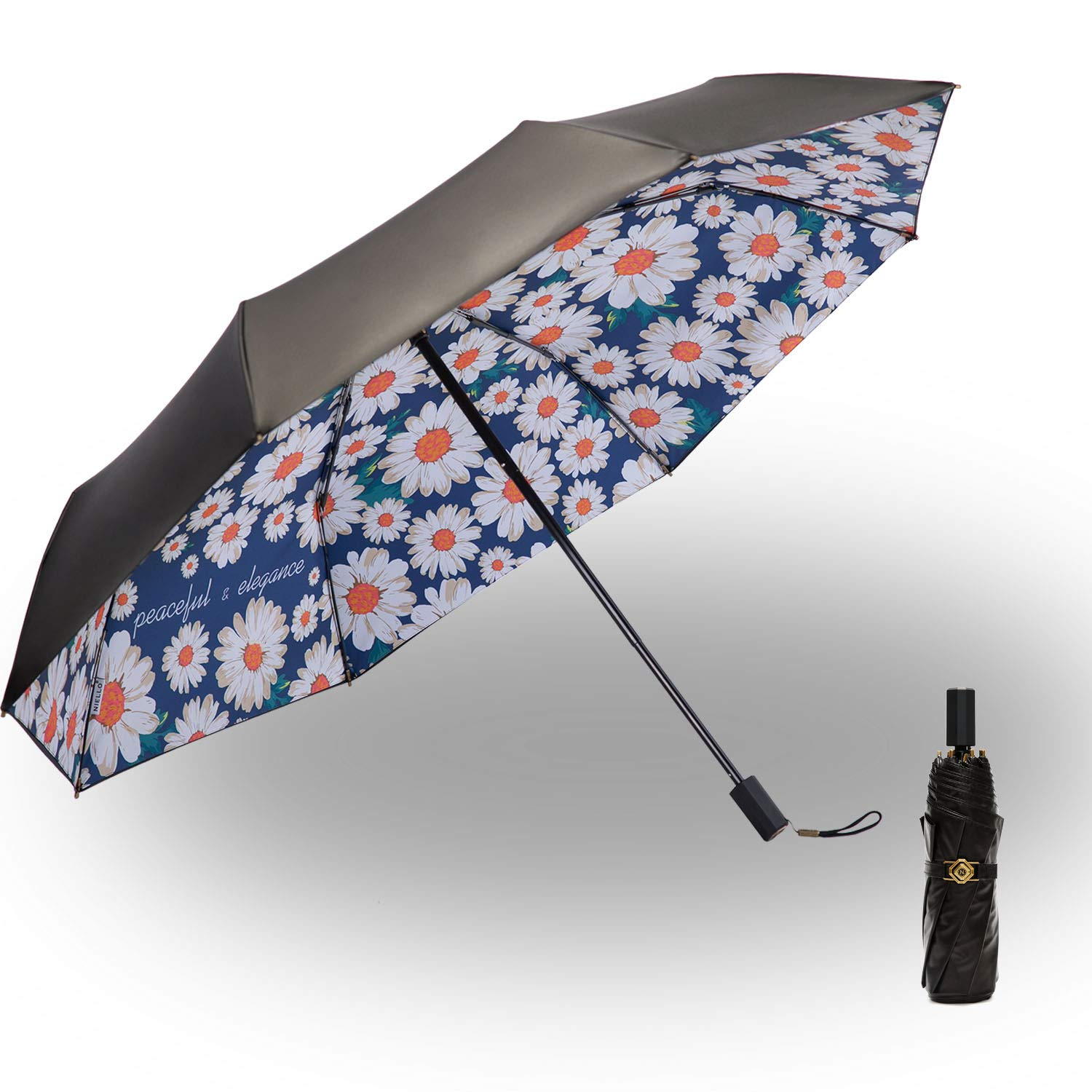 Folding Compact Travel Umbrella Windproof & Waterproof & Sun Block Outdoor Double Canopy Umbrella Vintage Daisy painting by Niello