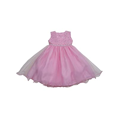 S. Square Baby Girls Pink Glitter Floral Accent Organza Overlaid Flower Girl Dress 6-24M