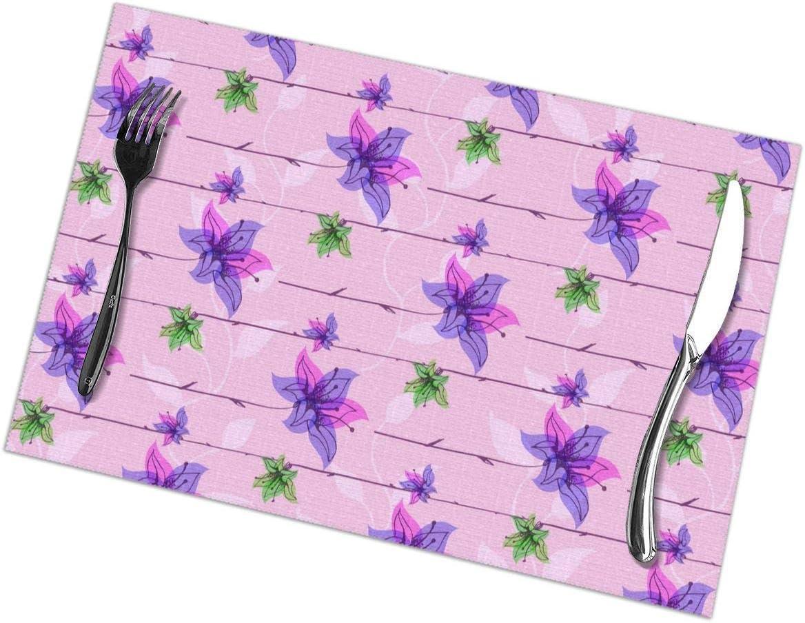 Singledog Conjunto temático de Flores Rosadas con temática de Plantas Camperas de 6 manteles Individuales