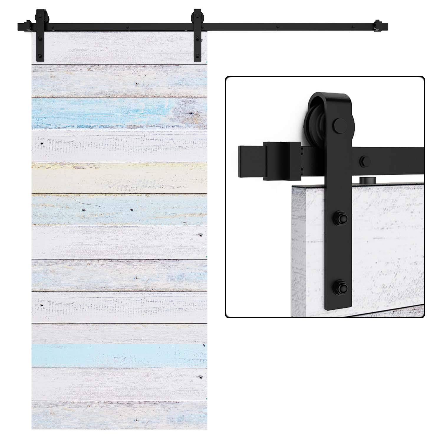 """EaseLife 6 FT Heavy Duty Sliding Barn Door Hardware Track Kit,Ultra Hard Sturdy,Slide Smoothly Quietly,Easy Install,Fit 30""""~36"""" Wide Door (6FT Track Single Door Kit)"""
