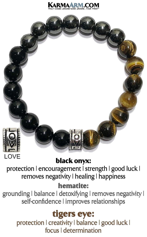 Purpose Black Onyx Stretch Chakra Zen Meditation Jewelry Reiki Healing Energy Boho Yoga Beaded Wristband KarmaArm Love Bracelet Natural Tiger Eye Hematite