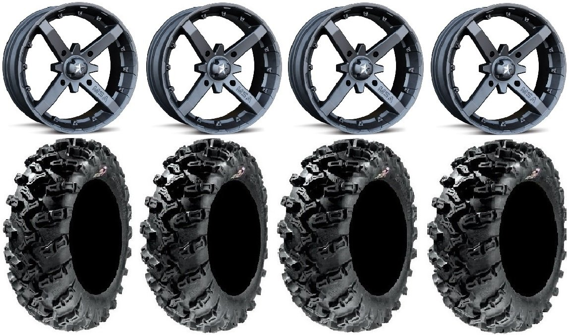 Bundle - 9 Items: MSA Black Battle 12'' UTV Wheels 26'' Grim Reaper Tires [4x137 Bolt Pattern 12mmx1.25 Lug Kit]