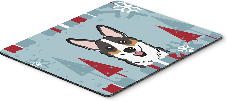 Large Multicolor Hot Pad or Trivet Carolines Treasures BB1751MP Winter Holiday Tricolor Corgi Mouse Pad
