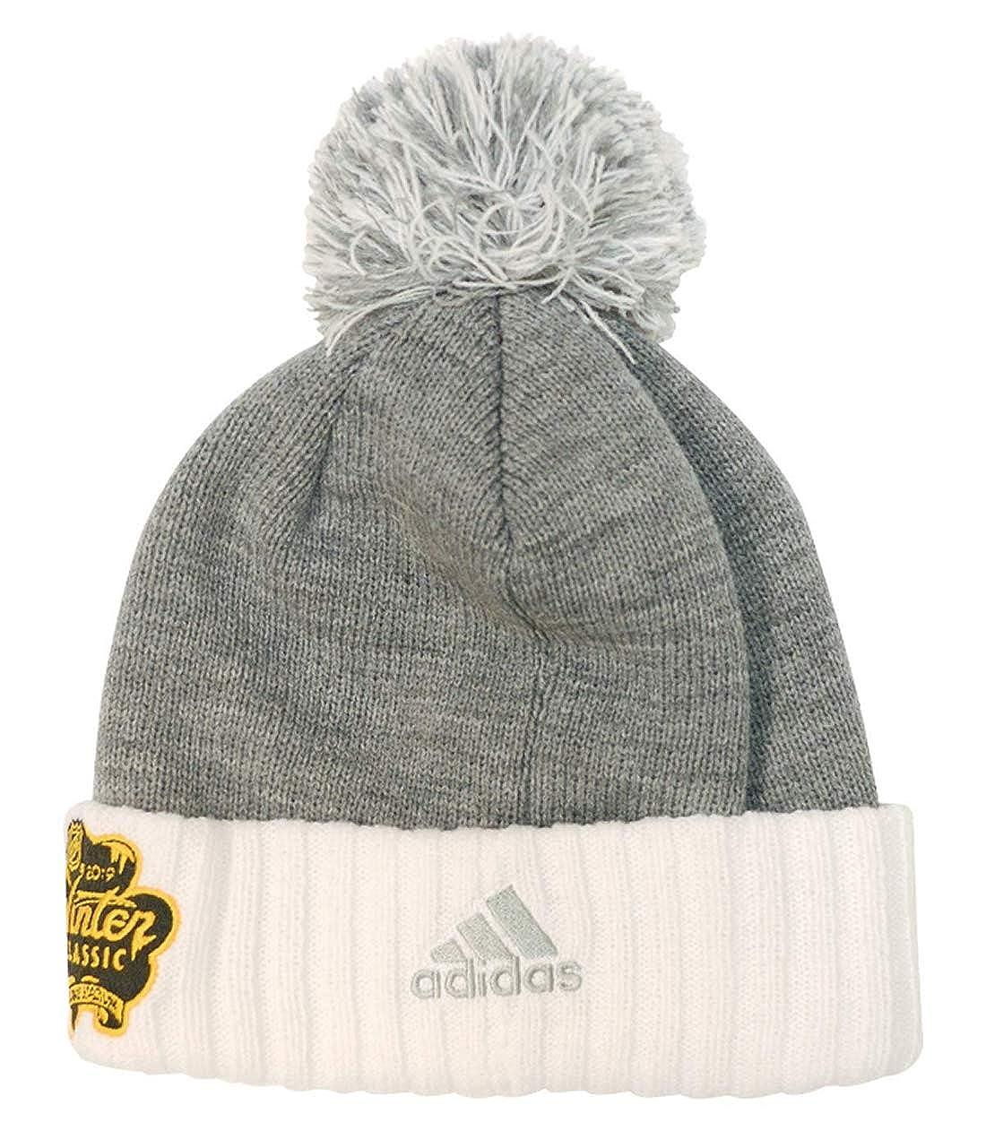 d0d15b530bd197 Amazon.com : adidas Boston Bruins 2019 Winter Classic Cuffed Pom Knit Hat  ... : Clothing