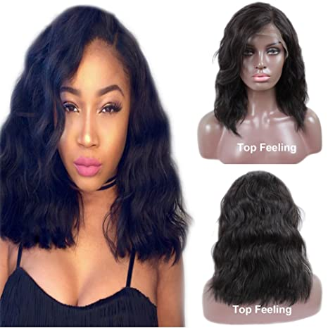 TopFeeling Short Human Hair Wigs for Black Women Brazilian Body Wave Bob  Lace Front Wig with Sida Part  Amazon.in  Beauty 63acd6fea