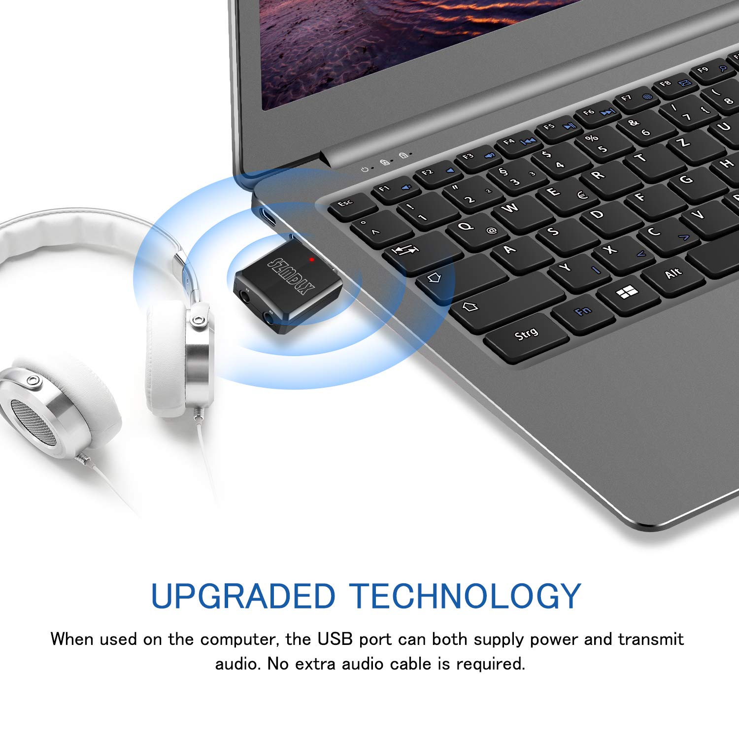 Bluetooth 5.0 EDR Adapter with 3.5mm AUX for Car TV Headphones PC ...