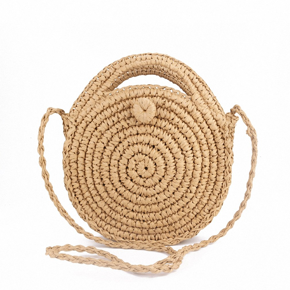 Round Straw Beach Bag Summer mini Vintage Handmade Crossbody Leather Bag Brown
