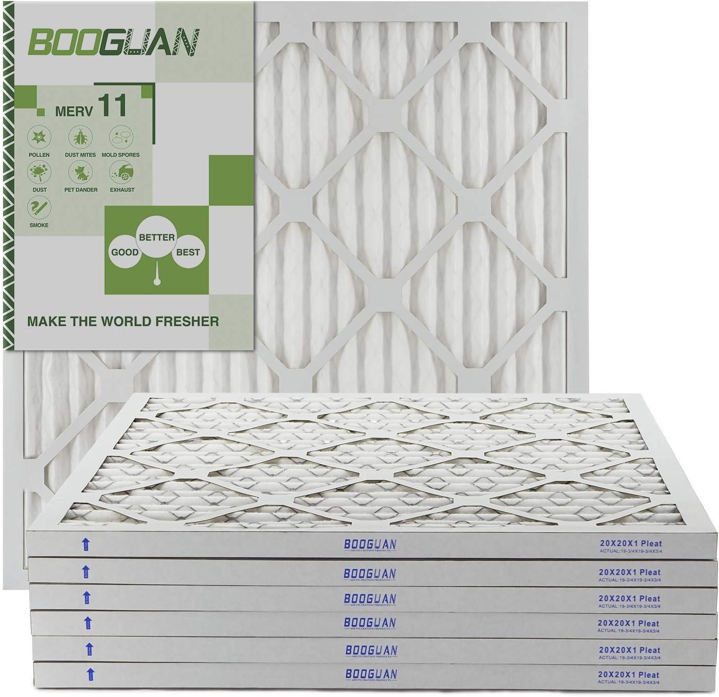 BOOGUAN 20x20x1 MERV11 Pleated HVAC HC Furnace Air Filter 6-Pack