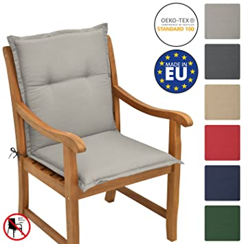 Beautissu Loft NL - Cojín para sillas de balcón o Asiento Exterior con Respaldo Bajo - 100x50x6 cm - Placas compactas de gomaespuma - Gris Claro