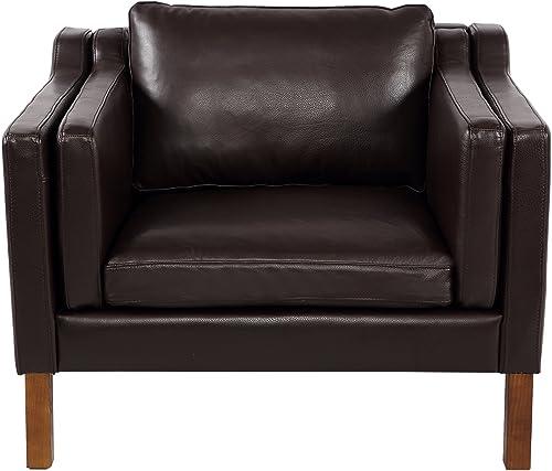 Kardiel Monroe Mid-Century Modern Vintage Chair, Brown Aniline Leather