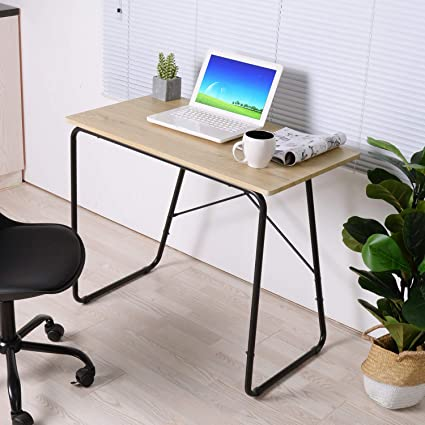 GreenForest Computer Writing Desk, 35 Inch Space Saving Small Home Office  Workstation, Oak