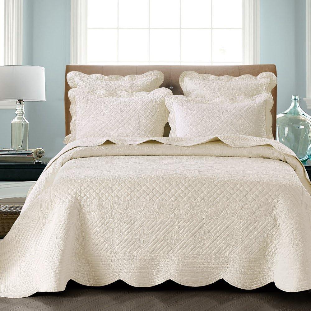 """Calla Angel HM-3R0D-ZNR5 Sage Garden Luxury Pure Cotton Quilt, 108"""" x 95"""", Ivory, King,"""