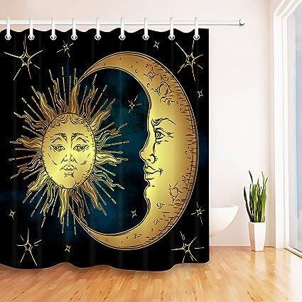 LB Sun Moon Star Shower Curtain Set Black Bathroom Curtains Polyester Fabric Mildew Resistant Waterproof Bath