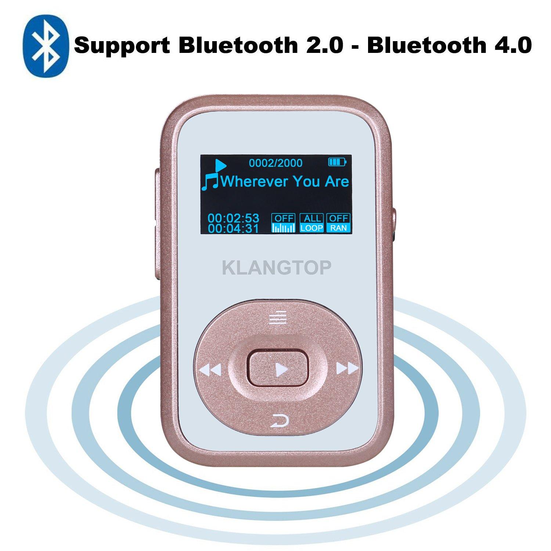 Mini Reproductor MP3 Deportivo Bluetooth 4.0 con Alicate KLANGTOP Reproductor de Sport de música 8 G 30 Horas de Lectura Grabación Radio FM Walkman Pantalla ...