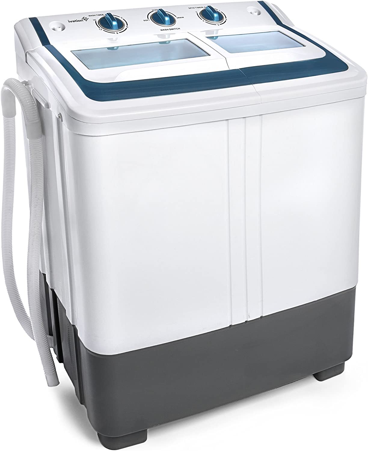 RVs NAKORNO Portable Compact Washing Machine Blue /& White Apartments 9.5 lbs Capacity Camping Small Semi-Automatic Compact Washer with Timer Control Single Translucent Tub for Dorms