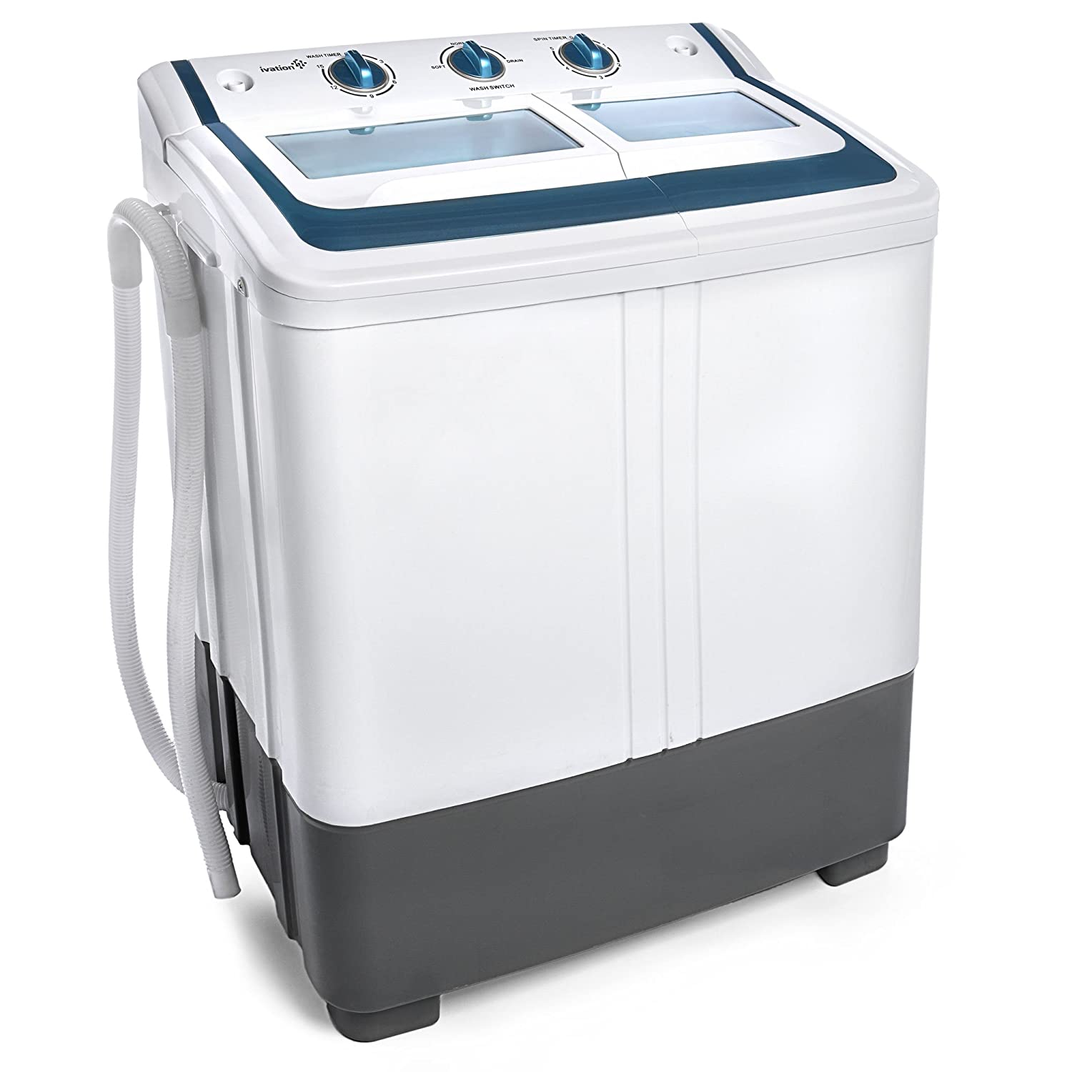 Ivation Small Compact Portable Washing Machine – Twin Tub Washer & Spin with 12.12 Lb. Wash Capacity & 7.7 Lb. Spin Capacity – Includes Drainage Pump & Tube – Ideal for Dorm Rooms, RV & More IVAPWS12WT