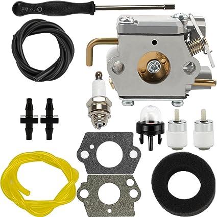 Dalom WT-827 Carburetor w Air Filter Fuel Line for Troy-Bilt 753-05133  TB10CS TB20CS TB20DC TB65SS TB70FH TB70SS TB90BC Trimmer TB310QS TB320BV  Leaf