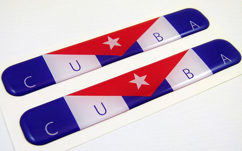 Cuba Cuban Flag Domed Decal Emblem Resin car auto Stickers 5x 0.82 2pc.
